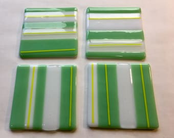 Green yellow & white fused glass coasters