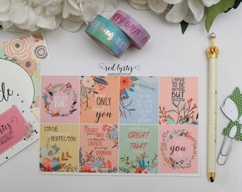 Floral Motivational Quotes/ECLP, planner stickers