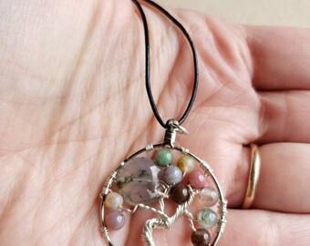 Silver fancy Jasper tree of life pendant