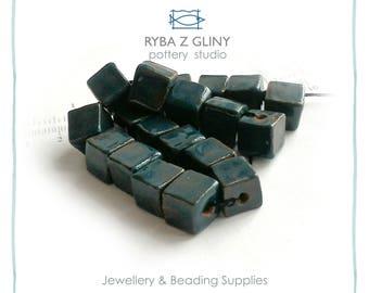 Ceramic Square Beads, 0.9-1.0 cm, Clay Bead, Jewelry Beads, Blue Beads, Pottery Beads, Nautical Beads, Handmade Beads, Glazes beads
