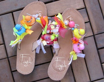 "Natural Color Greek Leather sandals with ducks - Flip flops  - ""A duck story"""