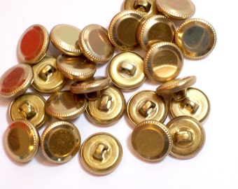 Gold Buttons, Goldtone Metal Buttons 9/16 inch diameter x 25 pieces,  Shank Back