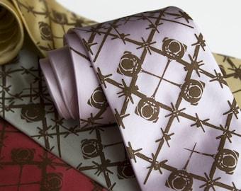 Wingman men's silk necktie. C-130 Hercules argyle tartan print. Bronze ink. Men's silk tie