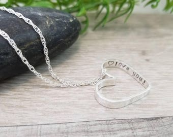 Hidden Message Heart Pendant Necklace / Hand-stamped Necklace / Personalized Necklace