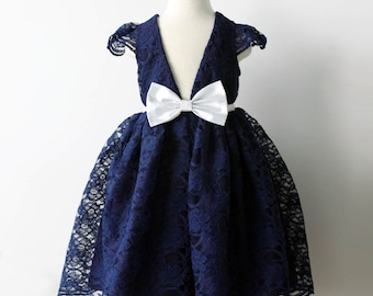 Navy Lace Flower Girl Dress, Midnight Navy, Silver Wedding, Lace Flower Girl, Classic Flower Girl, Toddler Flower Girl, Beach Flower Girl