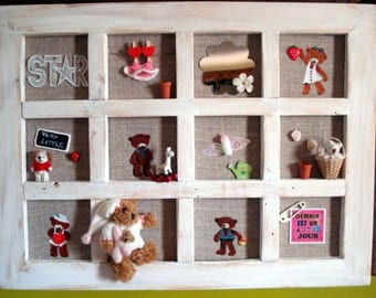 Decorative frame with compartments for girl or baby with Teddy bear room