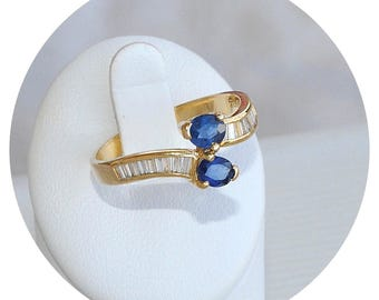 18K gold / very fine ring - diamonds - sapphires - 18 k gold - 750/1000