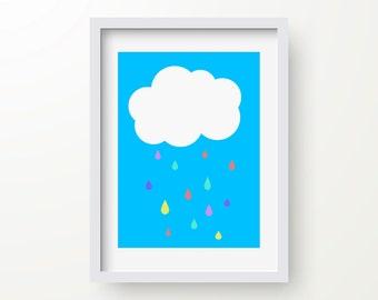 Cloud Rain Drop Print, Nursery, Child's Bedroom, Modern Art Print, Digital Print, Wall Art, Instant Download