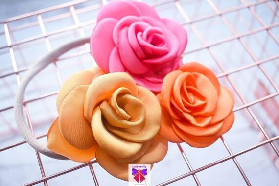 Gold, Orange and Pink flower cluster  hairband - Baby / Toddler / Girls / Kids Elastic Flower Crown / Headband / photo prop / Birthday
