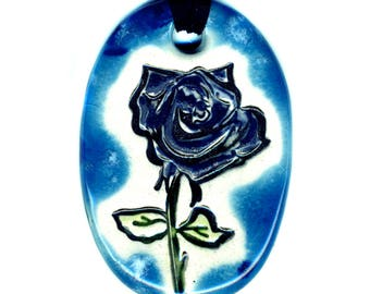 Rose Necklace in Blue