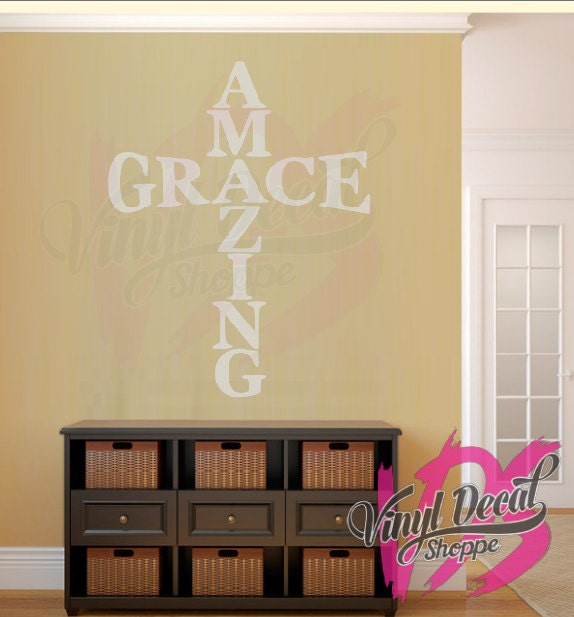 Amazing Grace Wall Decal, Cross Decor, Christian Wall Decal, Church ...