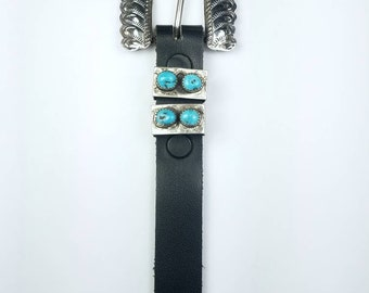 Native American Navajo handmade Sterling Silver Kingman Turquoise stone ranger set belt buckle