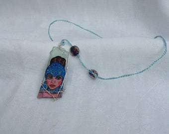 Gloria Swanson Pendant hand painted on sea glass