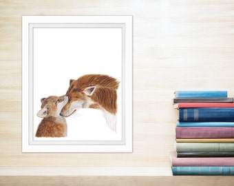 Woodland Nursery Decor, Fox Watercolor Art, Mom and Baby, Fox Nursery Art, Fox Nursery Decor, Baby Room Decor, Animal Art, Brown, Gray, Tan