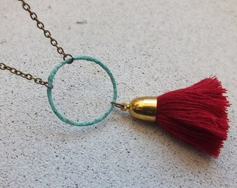 Circle Necklace/Patina Necklace/ Red Tassel necklace/Long Circle Necklace verdigris patina