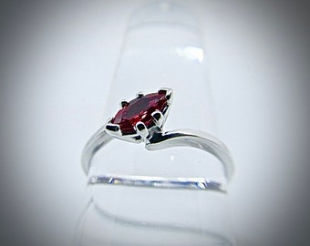 14K white gold marquise ruby ring