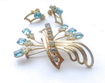 Blue Rhinestone Jewelry Set Brooch Earrings Set 1940's Antique Vintage Bridal Wedding Feminine Jewelry