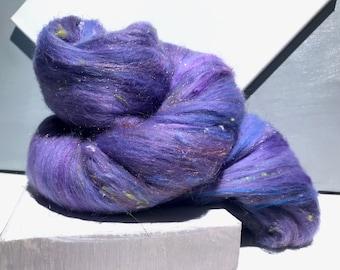 """Lavender fiber art batt, wool, felting, spinning, Roving, """"Catmint """"purple, lavender, orchid, hyacinth blue , nuno felting, hand spinning"""