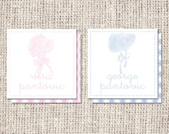 Bonnet Personalized Enclosure Cards or Labels - Choose Girl or Boy
