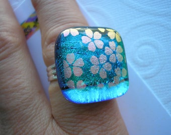 Emerald Green and Teal Ring with Flowers, Adjustable Silver Band, Fused Dichroic Glass, Statement Ring, Square Ring, Cocktail Ring Big