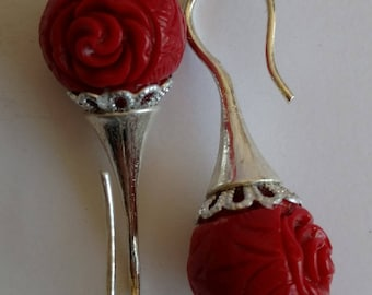 Red and silver earrings, coral pearl