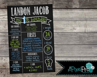 Birthday poster for boy, birthday stats sign, birthday milestone printable, all about me chalkboard image, little boy stats home decor