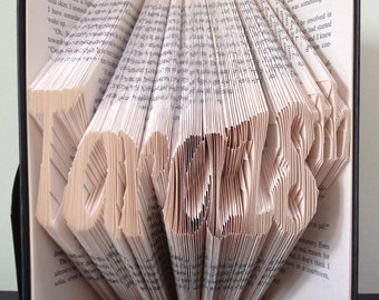 A CUSTOM NAME Book Folding Pattern in Brushstroke Alphabet . DIY template to make your own word. Full instructions. No measuring required