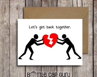 Let's Get Back Together / Romantic I Miss You Card for Ex-Boyfriend Ex Husband Wife Girlfriend / Broken Heart Sorry Card /Printable Download