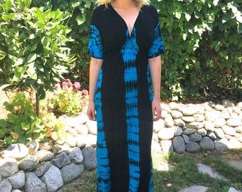 Maxi Dress, Tie Dye Maxi, Kimono Style Dress, Tie Dye Dress, Dresses, Summer Maxi, Black/Turquoise S M L X