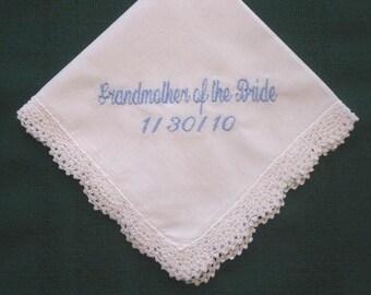 Grandmother Personalized Wedding Handkerchief hankie, hanky 185S embroidered hankie,wedding handkerchief,hanky