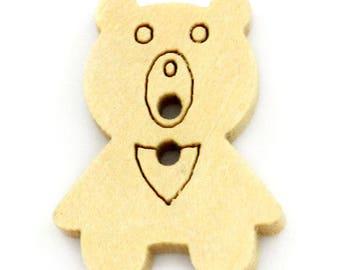 Set of 5 buttons 2 holes bear Nature 20mm x 15mm