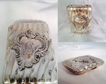 Antique Silver Cigarette Case French Depose Registered Hand Chased Monogram AC Art Nouveau