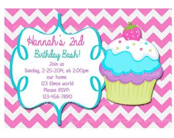 Cupcake birthday  Invitations - printable - DIY - digital file (CC9)