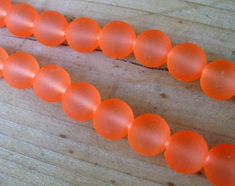 20 Frosted Orange Glass Beads, 10mm, Jewelry Making Supplies, Orange Beads, Frosted Beads   G1428
