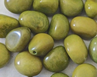 5 Green Tagua Nuts, Vegetable Ivory, Undrilled for Decorating or Carving, EcoBeads, Tagua, Natural, Organic Seeds