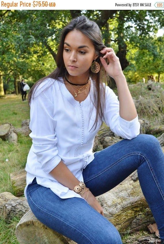 KAFTAN 20% SALE/ Magrib Style White Shirt -perfect for casualwear, loungewear, as birthday, honeymoon gifts for her, resortwear, christmas g
