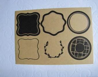 12 labels adhesive natural kraft enliserai black 5.3 cm baroque style