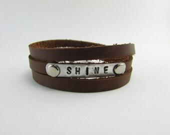 "Stamped ""SHINE"" Leather Triple Wrap Bracelet"