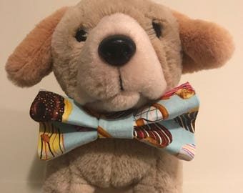 Donut Dog Bow Tie (light blue and multi-colored)