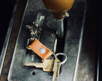Genuine leather keychain with Turquoise concho