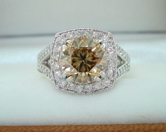 3.27 Carat Champagne Diamond Engagement Ring, Platinum Hand Engraved Engagement Ring, Vintage Halo Bridal Ring, Certified Handmade Unique