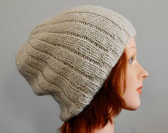 Natural RIAF Soft Warm Hand Crafted Alpaca Slouchy Beanie Hat, Ivory