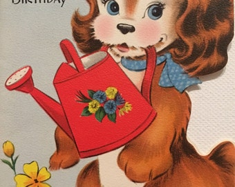 Vintage Birthday Card Nephew Cocker Spaniel Gardening Watering Can Unused Mid Century Puppy