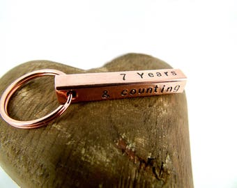 Copper Bar Keyring Hand Stamped Personalised Gift for Him  for Her Couples 7th Anniversary  Family  Home New House Mother's Day