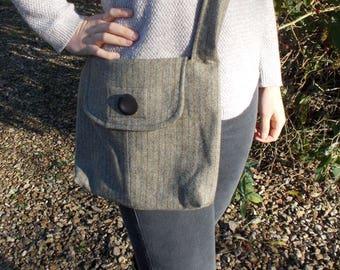 Vintage wool tweed shoulder bag lined with cotton