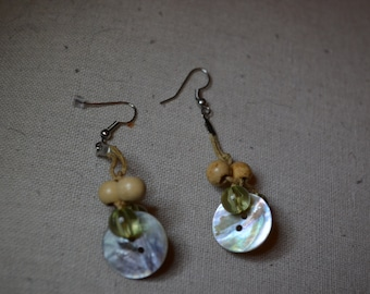 Button Drop- Dangle Earrings / Free Shipping