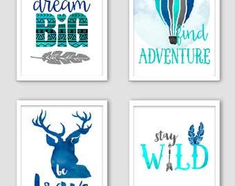 Tribal nursery decoration - Dream big - Be brave - Find adventure - Stay wild - Baby nursery art - Wall decor - Watercolor art