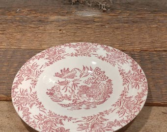 Vintage Hamilton Ross Ming Red Dinnerware Saucer / Red Willow Motif / 1940s & Red Willow Hamilton Ross Ming Red dinnerware plates cups