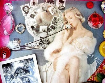 Marilyn Monroe Flor de Tabacos de Partagas Cigar Box Shrine Mixed Media Collage