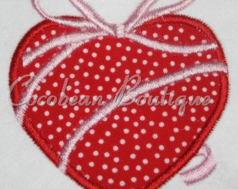 embroidery applique heart with ribbon